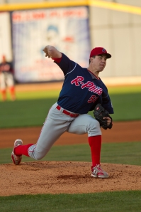 Trevor May at Double-A Reading in 2012 (David Monseur/MiLB.com)