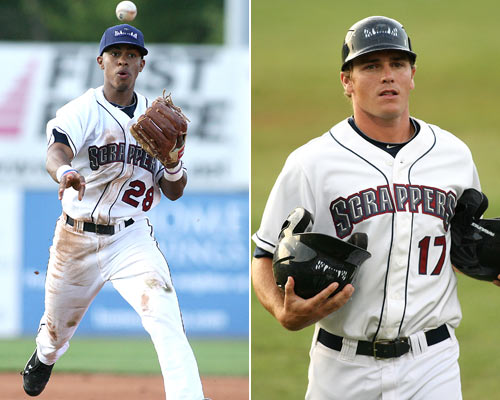 Wallace (right) managed Lindor at Class A Short-Season Mahoning Valley in 2011 before reuniting at Class A Lake County in '12. (Jesse Piecuch/MiLB.com)