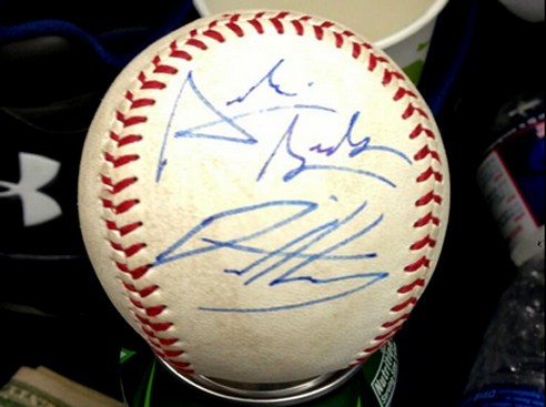 Baseball signed by Archie Bradley and teammate David Holmberg.