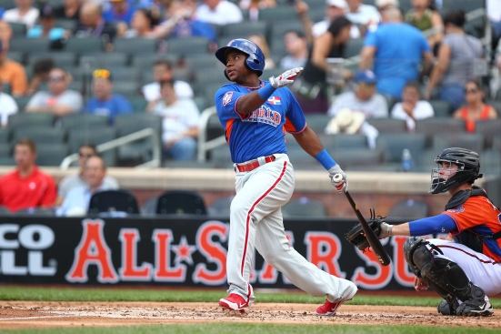 Maikel Franco represented the World Team at the 2013 Futures Game, held at Citi Field in New York. (Danny Wild/MLB.com)