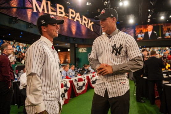 Ian Clarkin jokes with Fresno State University outfielder and 32nd overall selection Aaron Judge. Photo by Paige Calamari/MLB Photos