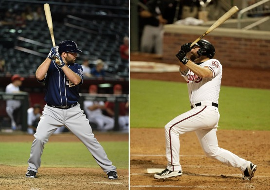 PHOENIX, AZ - SEPTEMBER 14:  Cody Decker #28 the San Diego Padres gets ready during his first major league at bat during the ninth inning against the Arizona Diamondbacks at Chase Field on September 14, 2015 in Phoenix, Arizona. Padres won 10-3.  (Photo by Norm Hall/Getty Images)